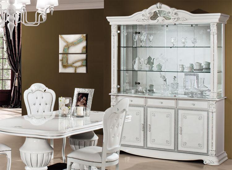Vitrine Wohnzimmer Esszimmer Glas Schrank Weiß Silber Italienischer ...
