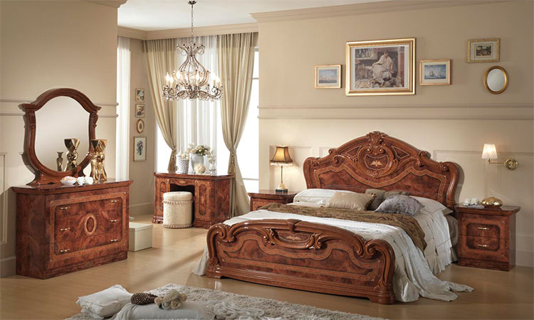 doppelbett klassisches bett 160x200 nussbaum hochglanz stilm bel aus italien ebay. Black Bedroom Furniture Sets. Home Design Ideas