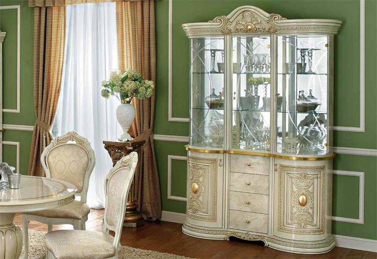 Details zu Klassische Vitrine Hochglanz Beige Leonardo Barock Details  Italienische Möbel