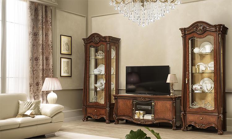vitrine vitrinenschrank wohnzimmerschrank drei t ren nussbaum italienische m bel ebay. Black Bedroom Furniture Sets. Home Design Ideas