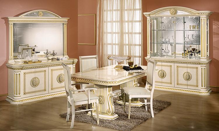 Esstisch Rund Ausziehbar Beige Hochglanz Greek Muster Gold