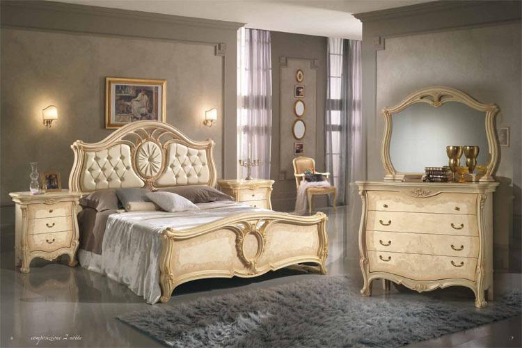 Bett Doppelbett Schlafzimmer Klassisches Bettgestell Elfenbein Möbel ...