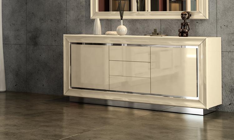 Details Zu Anrichte Sideboard Buffet Hochglanz Beige Chrom Rahmen Italienischer Stil Modern