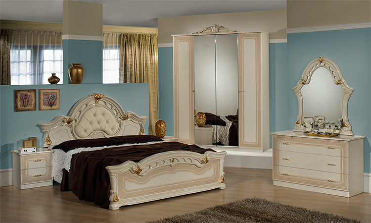 klassisches doppelbett bettgestell wei silber italienische hochglanz stilm bel ebay. Black Bedroom Furniture Sets. Home Design Ideas