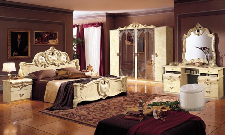 Schlafzimmer Komplett Set Barocco Beige Gold Hochglanz Stilmöbel aus ...